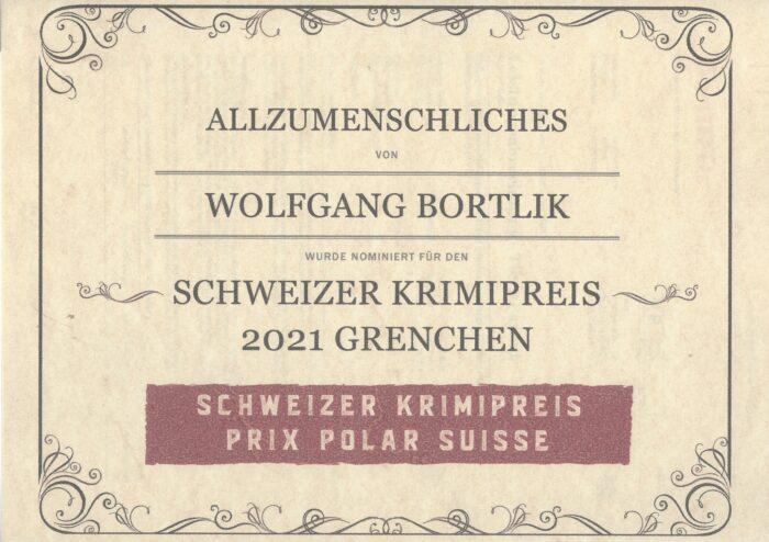 Wolfgang Bortlik ist nominiert für den Schweizer Krimipreis Grenchen 2021